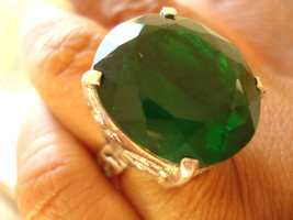 Fine Unique Large 18x21mm Silver 51.88 Carats Green Emerald Ring Filigre... - $121.00