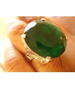 Fine Unique Large 18x21mm Silver 51.88 Carats Green Emerald Ring Filigre... - $121.00