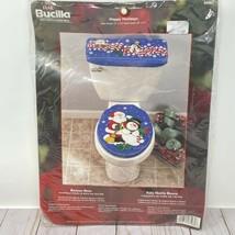 Bucilla Toilet Seat Bath Ensemble Felt Happy Holidays Christmas Santa Sn... - $28.49