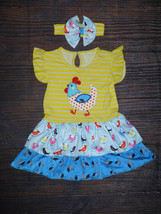 NEW Boutique Chicken Girls Yellow Ruffle Easter Dress Headband Bow Outfit  - $16.99