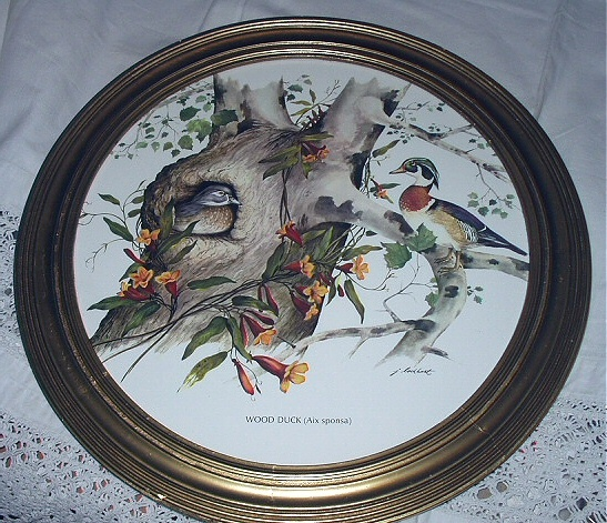 J.LOCKHART-Wood Ducks-Lovely Round Vintage Frame Birds in Tr