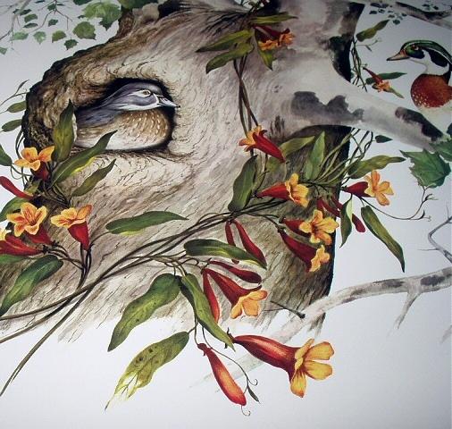J.LOCKHART-Wood Ducks-Lovely Round Vintage Frame Birds in Tr