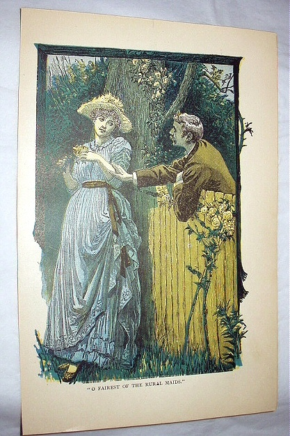 Antique Oil Coloured Engraving-Man Romancing Victorian Lady