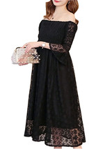 Maternity Dress Solid Color Off Shoulder Fashion Lace Dress - $48.99