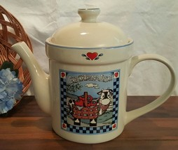 TRANSFAR INT'L CORP. - BLUE CHECKERBOARD FARMS (COW) - TEA POT - $9.49