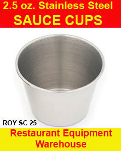 12 NEW REUSEABLE STAINLESS CONDIMENT CUPS 2.5 oz Bonanza