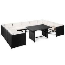 vidaXL 10 Piece Garden Lounge Set with Cushions Poly Rattan Black Furniture - $408.99