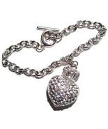 Sparkling Crystal Pave Heart Crown Toggle Bracelet BR11 - $9.99