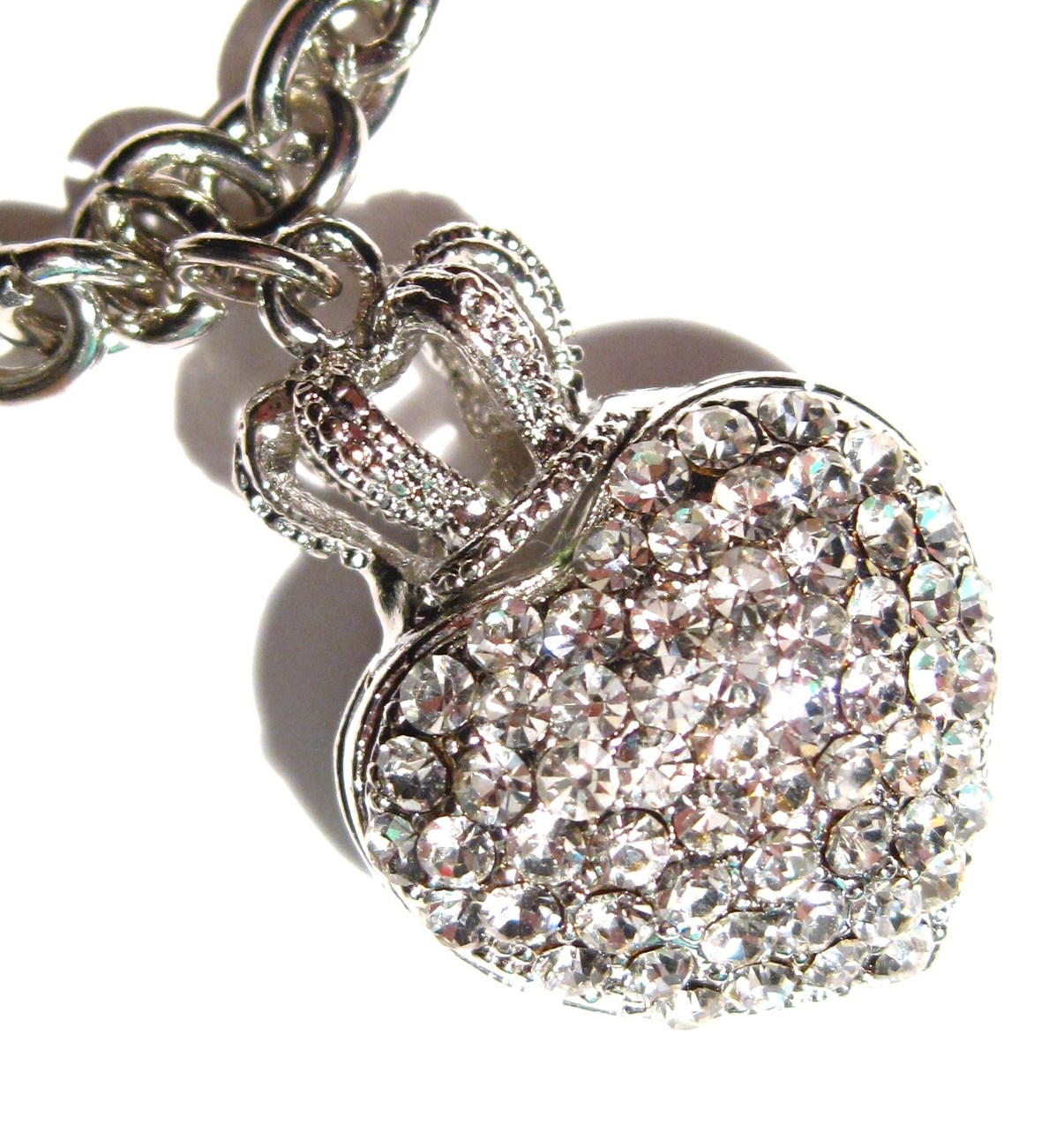 Sparkling Crystal Pave Heart Crown Toggle Bracelet BR11