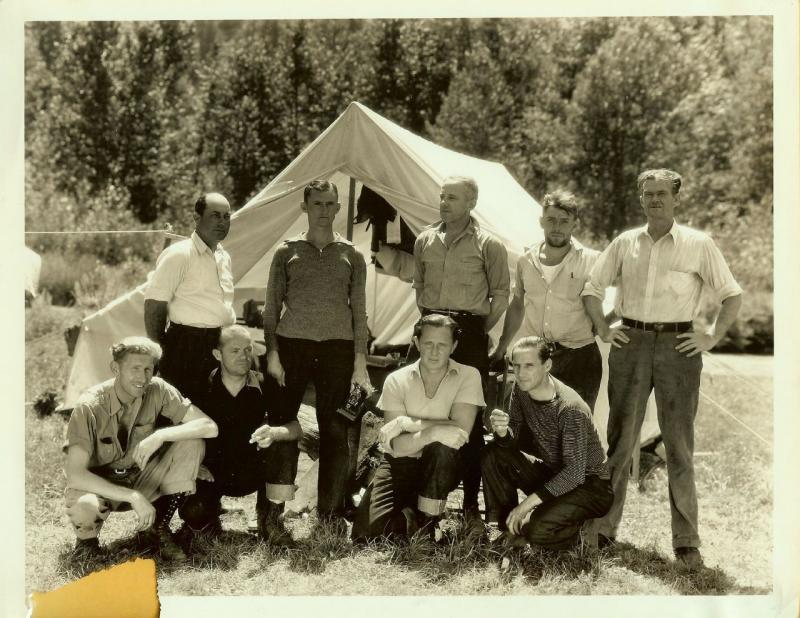 C124 UNKNOWN Silent Film CREW Tent ORG Candid PHOTO