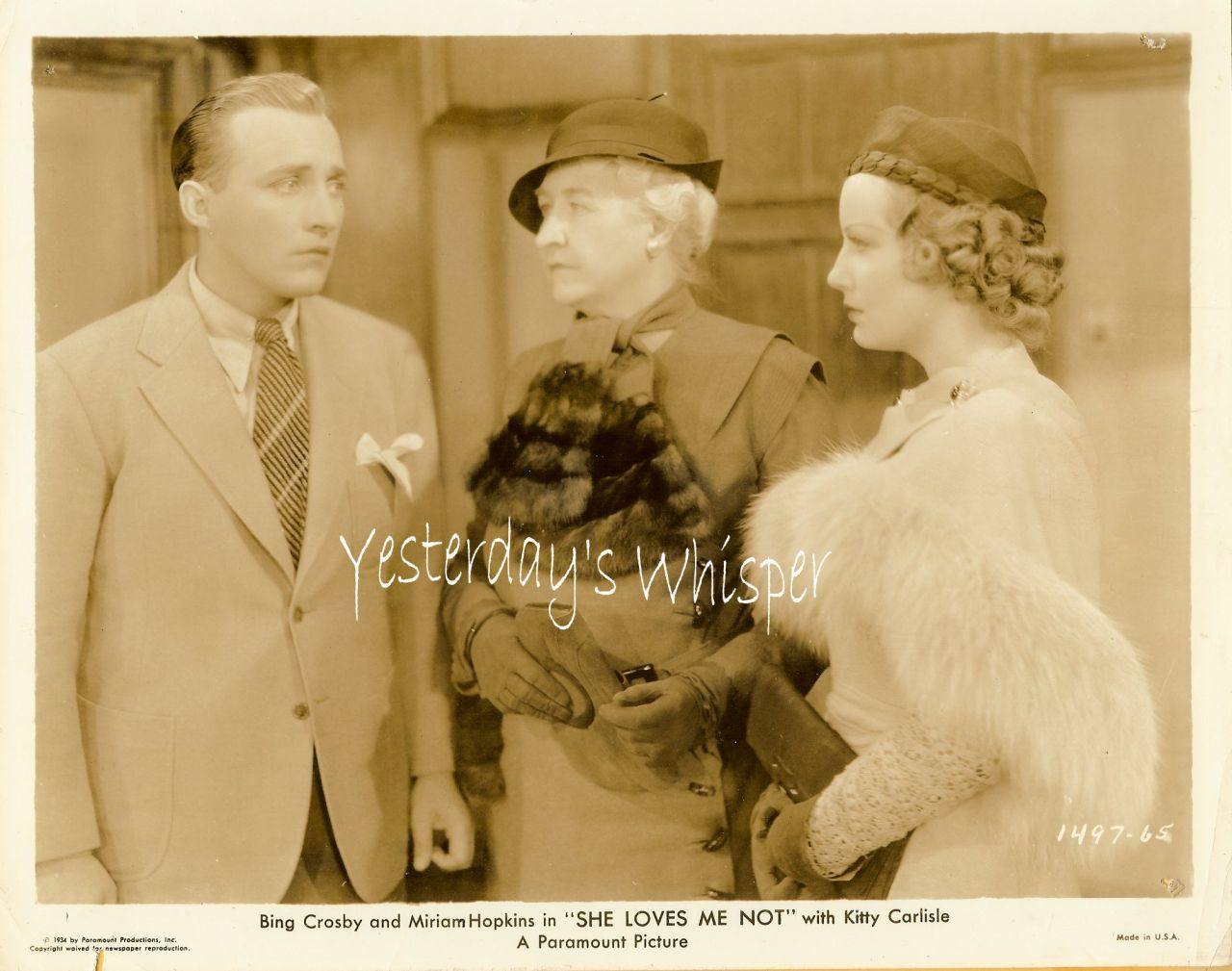 Bing Crosby Miriam Hopkins Fur c.1934 Movie Promo Photo