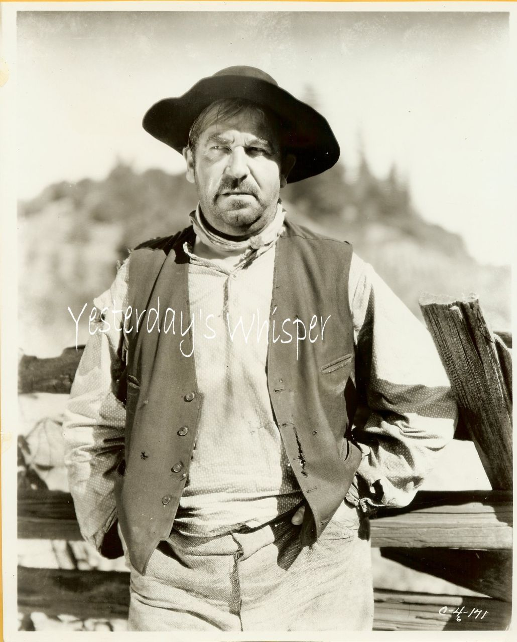 Noah Beery Sr. Vintage Western Movie Publicity Photo
