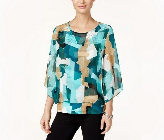 NWT JM Collection Petite Teal Geo Print Embellished Chiffon Blouse Knit Top PL
