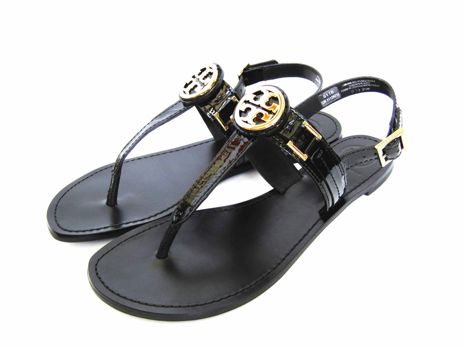 5bb9760ce47a Tory Burch Patent Cassia Gold Logo Sandal and 44 similar items. Img 3467