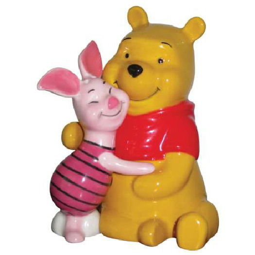 Disney Winnie the Pooh & Piglet Hugging Ceramic Salt & Pepper Shakers Set UNUSED