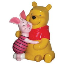 Disney Winnie the Pooh & Piglet Hugging Ceramic Salt & Pepper Shakers Set UNUSED - $26.11