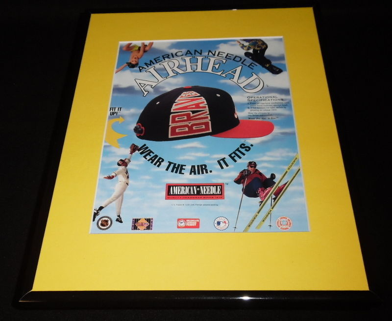 1995 American Needle MLB Airhead Hat Cap Framed 11x14 ORIGINAL Advertisement image 1