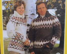 """Vintage Bouquet Polar Graph Knitting Patterns ADULTS Sweater 34"""" to 44"""" - $6.95"""