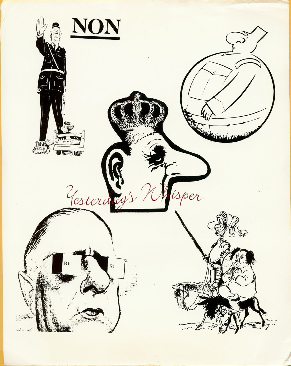 Charles DeGaulle French Caricatures CBS TV Ad Art Photo