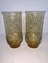 Vintage Pair Of Anchor Hocking Glass HERITAGE HILL Honey Gold Tumbler 11 oz - $12.50