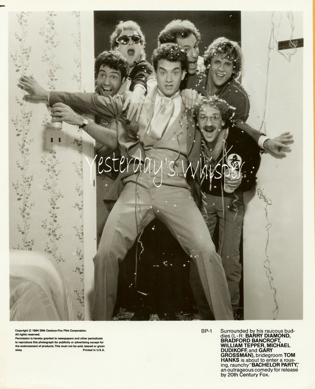 Tom Hanks Bachelor Party 1984 Movie Publicity Photo