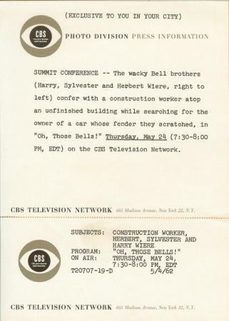 SLAPSTICK Herbert Sylvester Harry WIERE 1962 TV Photo