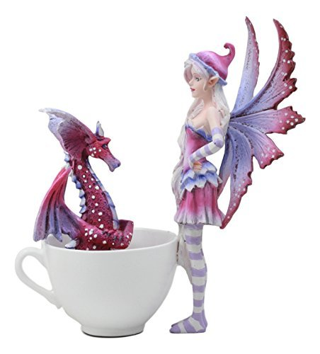 "Ebros ""Get Out Of My Cup!"" Amy Brown Angry Fairy With Purple Dragon Pet Tea Cup"