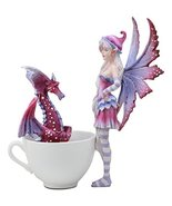 """Ebros """"Get Out Of My Cup!"""" Amy Brown Angry Fairy With Purple Dragon Pet ... - $36.62"""