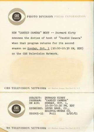 Durward Kirby Candid Camera 1961 CBS TV Publicity Photo