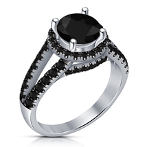 Black Diamond Womens Wedding Engagement Ring 14k White Gold Finish 925 S... - £55.15 GBP