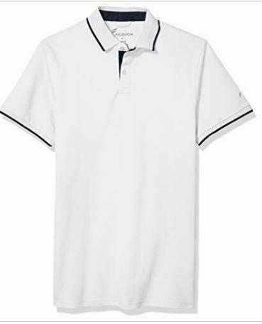 Fieldston Men's The Hopkins Retro Pique No Roll Collar Polo Shirt - White- XL
