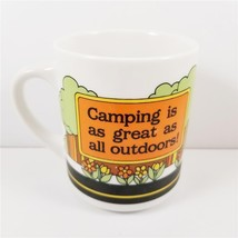 "Vtg ""Camping is as great as all outdoors!"" Mug Camper RV Abbey Press Win... - $17.99"
