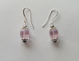 Pink Cube Beaded Earrings Long French Ear Wire - $15.00