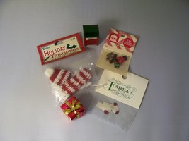 Dollhouse Christmas lot hat scarf ornaments mail box gift 1:12 Miniature... - $13.85