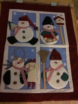 """Wall Hanging Snowman Fabric Applique 16"""" x 14"""" NEW - $9.87"""