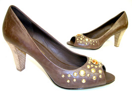 FRANCO SARTO 'Fanatic' Brown 10 Gold Nail Head Pumps or Shoes - $14.25