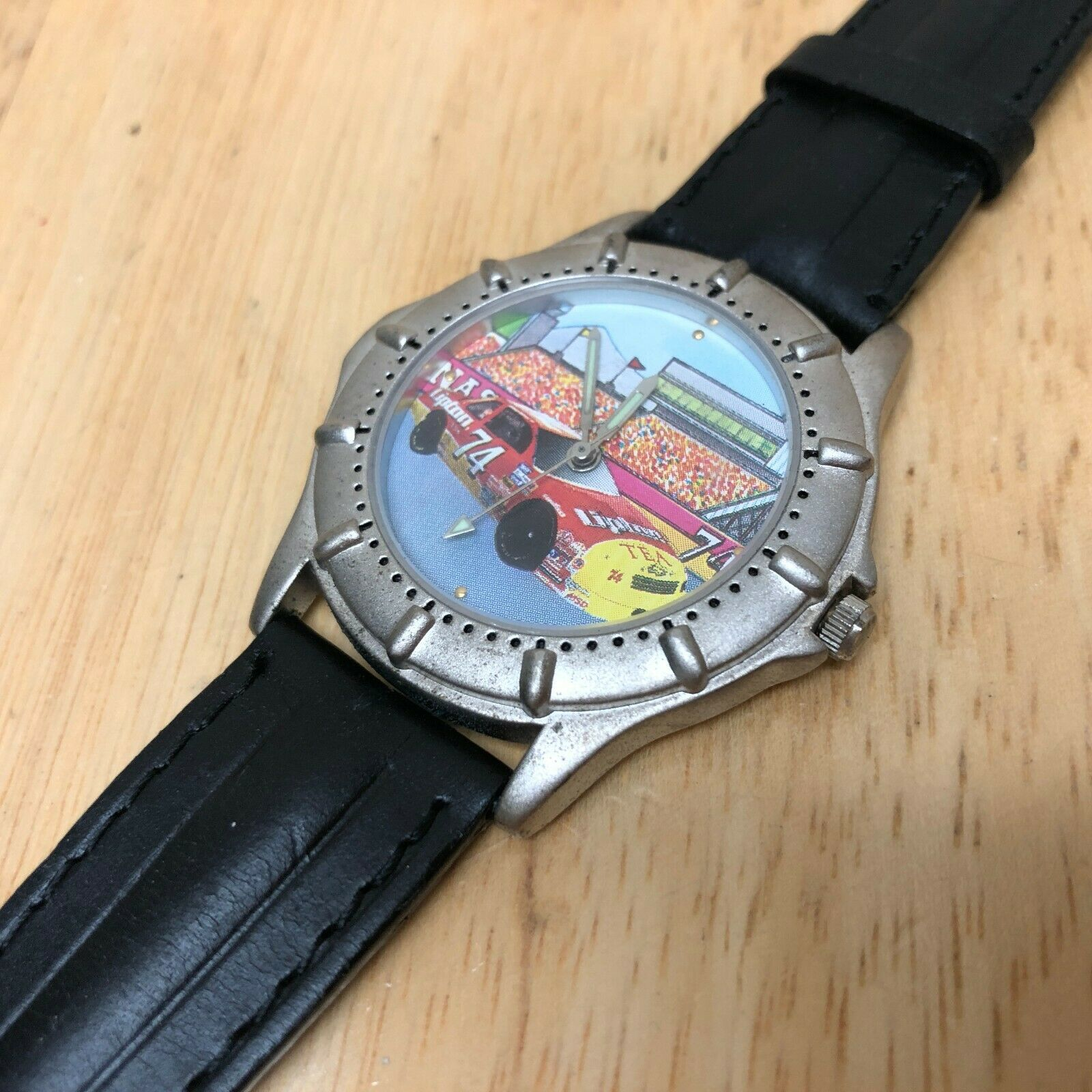 Vintage Lipton Tea Racing By Valdawn Mens Leather Quartz Watch Hours~New Battery