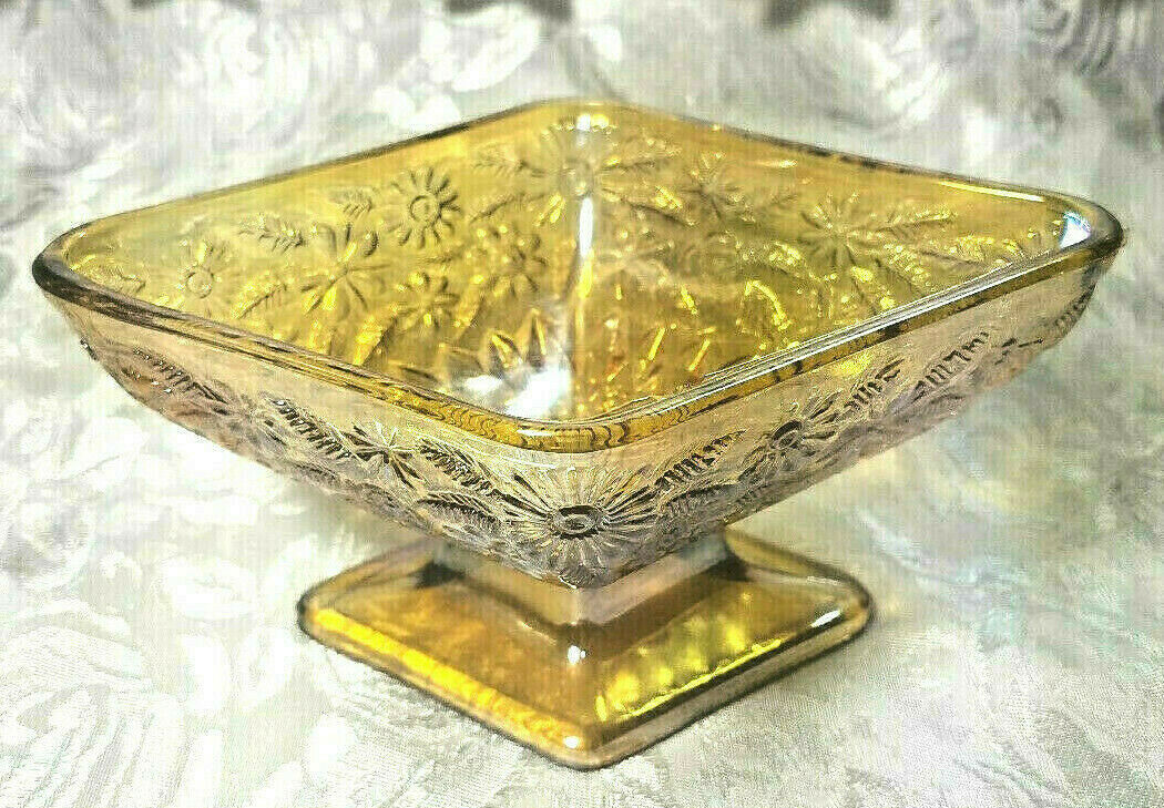 MARIGOLD IRIDESCENT CARNIVAL GLASS  CANDY/NUT DISH DIAMOND SHAPED FLORAL DESIGN