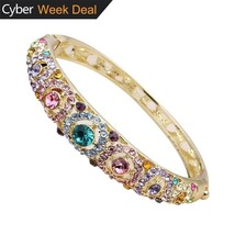 24k Gold Plated Crystals Bangle Bracelets White Gold Plated Hinged Jewelry - $157.67