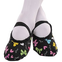 Dance Class Ballet Shoes/Canva Dance Shoes For Pretty Girl (20CM Length) Black