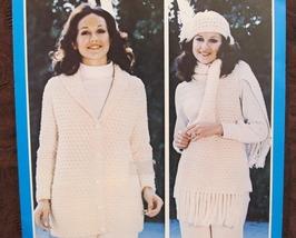 Vintage Bouquet Crochet Knitting Patterns LADIES Jacket Beret Scarf Set - $6.95