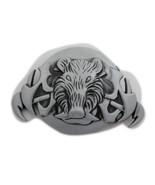 Neu Herren Damen Silberne Schnalle Schwarz Tier Wild Schwein Wildschwein - $25.46