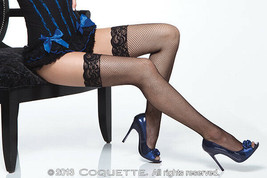 BLACK FISHNET THIGH HIGH STOCKINGS WITH LACE TOPS OS & QN - $11.99