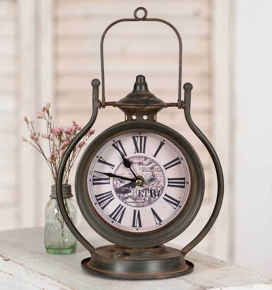 Primary image for Decorative Tabletop Farmhouse Lantern Clock Country Decor
