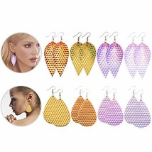 Reflective Leather Earrings for Women Leaf Leather Lightweight Handmade ... - $17.93