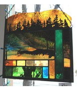 Stained Glass Window Panel deer mountain trees Father's Day - $179.00