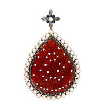 Carved Gemstone PEAR Shape Pendant Sterling Silver Pave Diamond 14k Gold... - $618.48