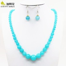 Shining Blue Amazonite Lucky Stone Tower Necklace Chain Earring Sets DIY... - $24.74