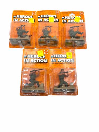 Lot (5) NOS Vintage 1974 Mattel Heroes in Action Card Figure Sealed Package
