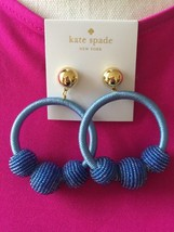 """KATE SPADE NWT THREAD WRAPPED LOOP AND BALL STATEMENT 3""""DROP EARRINGS BLUE - $53.00"""